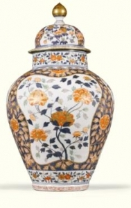 White Accented Imari Vase with Cover