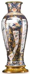 White and Gold Louis XVI Imari Porcelain Yakimono Vase