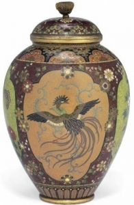 Brown Cloisonne Vase from Meiji Era with Four Accent Panels