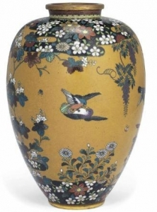 Ochre Vase from the Meiji Era with Birds and Flowers