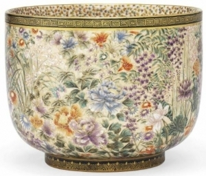 Flower Themed Satsuma Bowl from the Meiji Era
