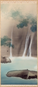 Yokoyama Taikan painting of a waterfall landscape scene