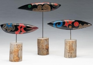 Very modern combined urushi and wood pieces